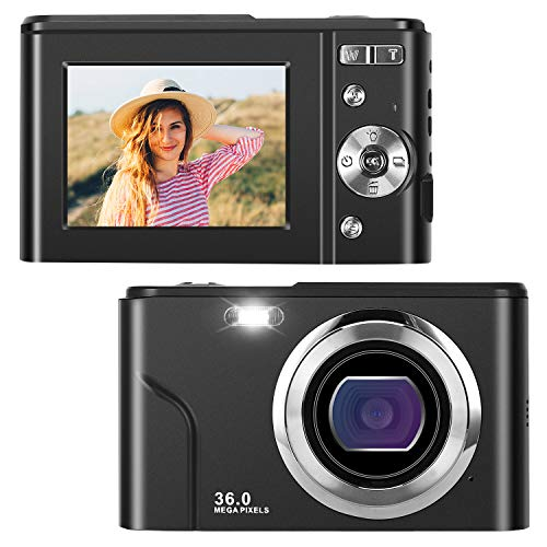 Digitalkamera, 6,1 cm (2,44 Zoll) IPS-LCD(4:3), 36 Megapixel, HD-Kamera, wiederaufladbar, Mini-Kamera, Studenten, Taschenkamera, Digitalkamera, mit 16-fachem Zoom, Kompaktkamera für Anfänger
