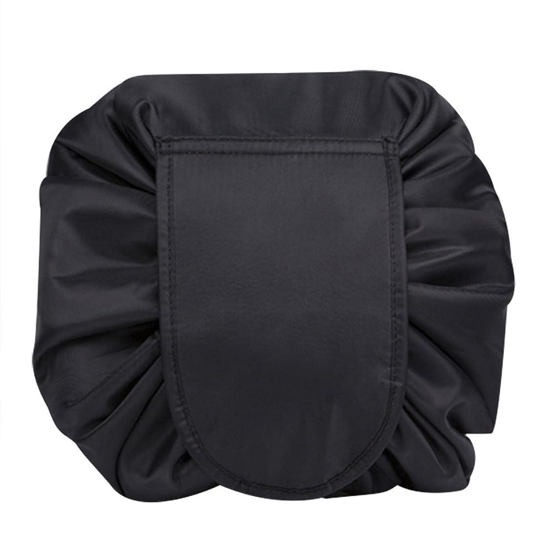 期待してお金バースマジックポーチ 化粧バッグ 化粧ポーチ レイジー化粧バッグ トラベルバッグ メイクバッグ 容量大きい ブラック