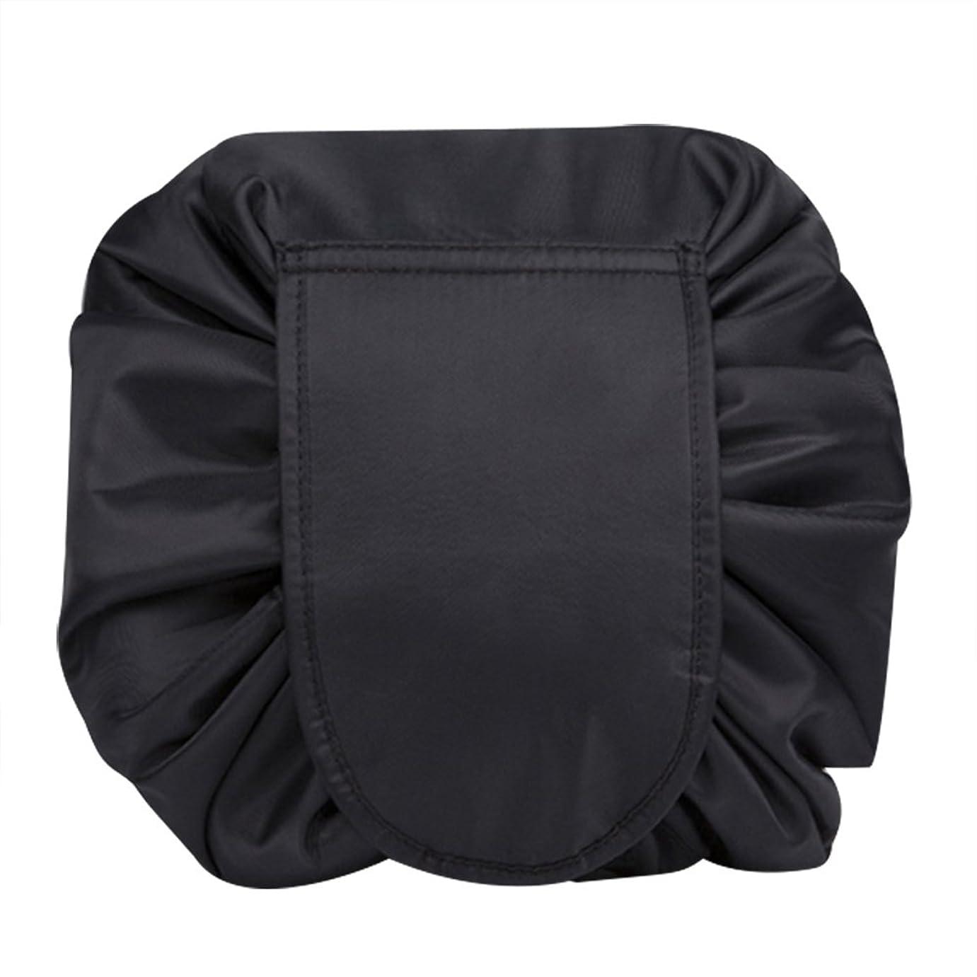 シーボード霊スリップマジックポーチ 化粧バッグ 化粧ポーチ レイジー化粧バッグ トラベルバッグ メイクバッグ 容量大きい ブラック
