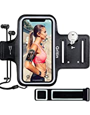 Gritin Löpararmband för iPhone SE 2020/11/11 Pro/XS/XR/X/8/7/6 Plus, Hudvänlig Svettbeständig Sport Löpning Armband med Nyckel och Hörlursuttag för Telefoner upp till 15,5 cm- Perfekt för Jogging, Gym