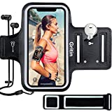 Gritin Running Armband for iPhone 12/12 Pro/SE 2020/11/11 Pro/XS/XR/X, Skin-Friendly Sweatproof Sports Running Armband with Key and Headphone Slot for Phones up to 6.1'-Perfect for Jogging, Gym