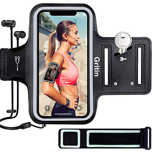 Gritin Sportarmband Handy für iPhone SE(2020)/12/12 Pro/12 Mini/11/11 Pro/XS/XR/7/8 bis zu 6,1
