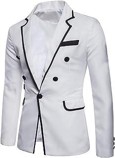 HX fashion Men's One Button Business Casual Suit Slim Fit Suit Comfortable Sizes Long Sleeve Lapel Blazer Coat Jacket Patc...