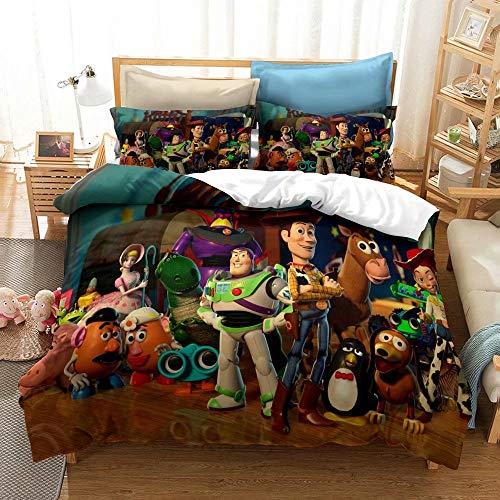 Juego de ropa de cama de Toy Story con estampado 3D de dibujos animados, 2 piezas, suave Mircofibra, juego de cama para niños, 1 funda...