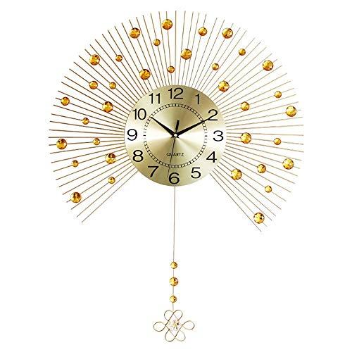 HYYK Reloj de Pared de péndulo de Gran tamaño en Color Dorado para Sala de Estar, decoración de Cristal Ramas de Metal en Color Dorado, Esfera de Aluminio Pulida