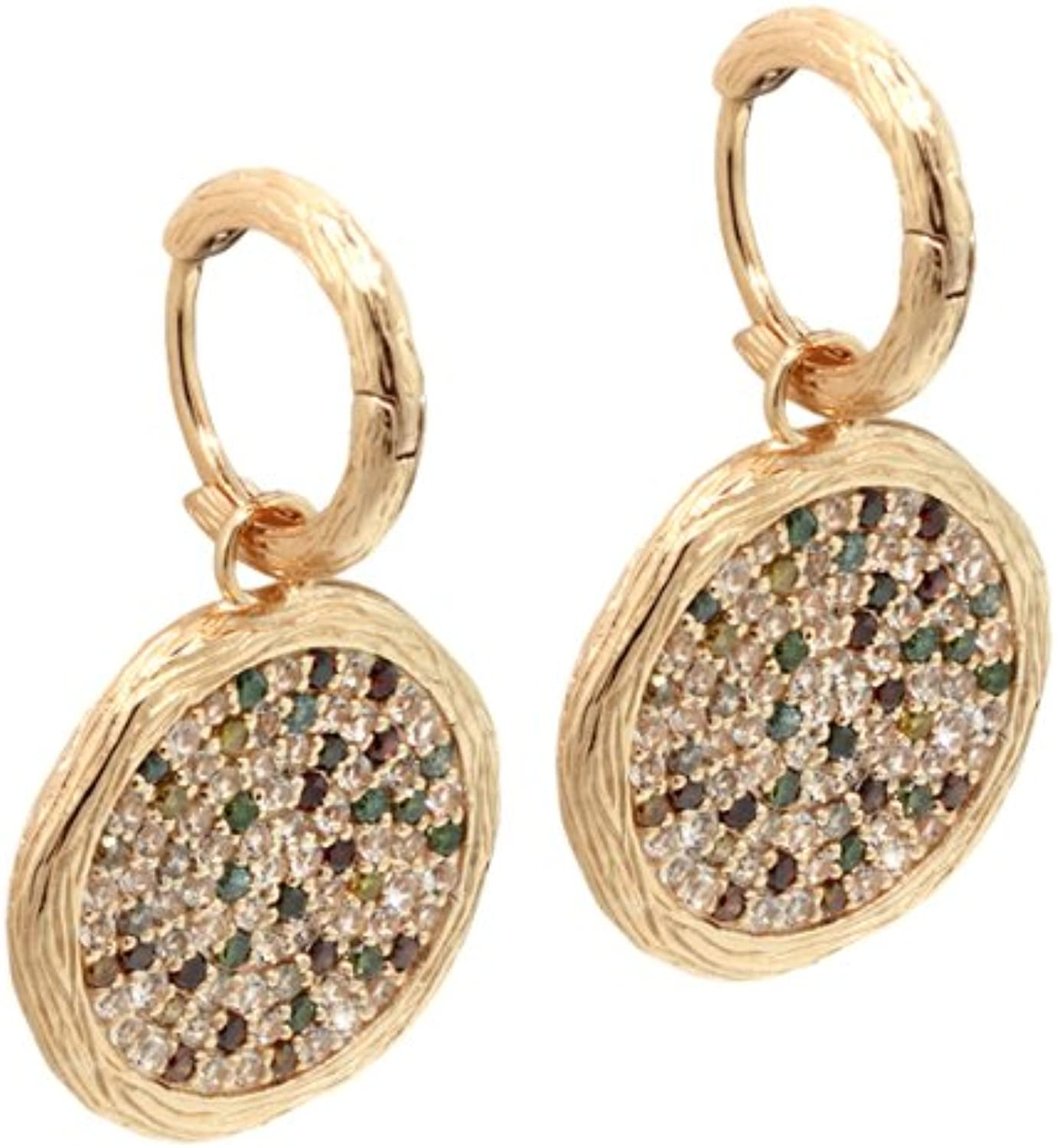 2.46 Ct Multicolor Diamond & Topaz Sterling Silver pink gold Plated Earrings