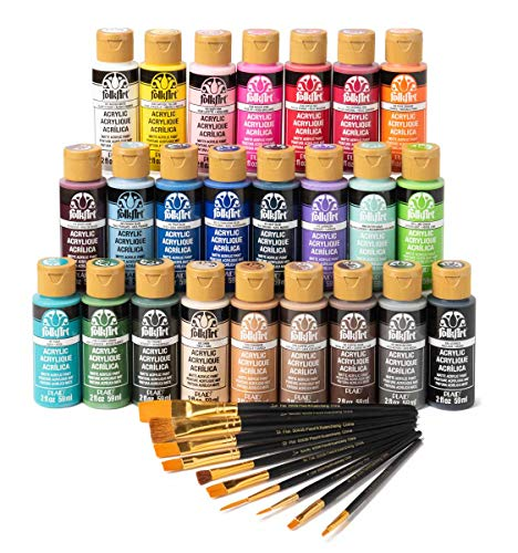 FolkArt 24 Bottle Acrylic Craft Paint Set with 10 Pack of Brushes, 2oz, Assorted Colors