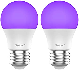 Onforu LED Black Lights Bulb, 7W A19 E26 Bulb, 385-400nm, Glow in The Dark for Blacklight Party, Body Paint, Fluoresc...