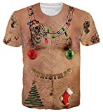 uideazone Men Women 3D Ugly Christmas Chest Hair T Shirt Funny X-mas Party Graphic Tee Shirts