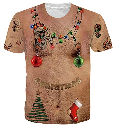 uideazone Men Women 3D Ugly Christmas Chest Hair Tshirt Funny X-mas Party Graphic Tee Shirt