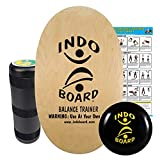 INDO BOARD Original Training Package - Natural Finish - Balance Board for Fitness Training and Fun - Comes with 30' X 18' Deck, 6.5' Roller and 14' IndoFLO® Cushion
