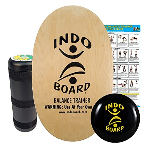 """INDO BOARD Original Training Package - Natural Wood Finish - Balance Board for Fitness Training and Fun - Comes with 30"""" X 18"""" Deck, 6.5"""" Roller and 14"""" IndoFLO Cushion"""