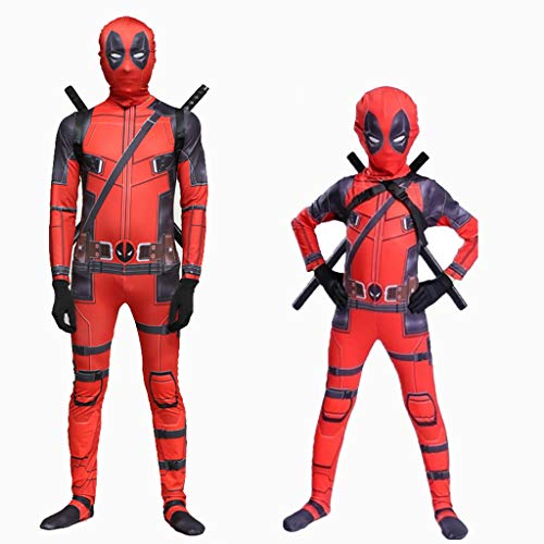 Yanbeng Marvel Deadpool Disfraz Disfraz Adulto Niños Halloween Cosplay Mono Spandex Cosplay Disfraces Conjunto Completo de Ropa,Children,XL