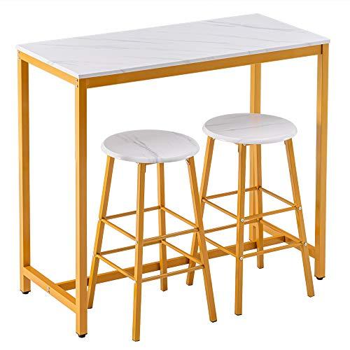 INFILM Schlichter Bartisch aus PVC-Marmor, runder Barhocker mit goldener Farbe, Theke, Küche, Bar, weißer Esstisch mit 2 Hockern, 107 x 47 x 92 cm