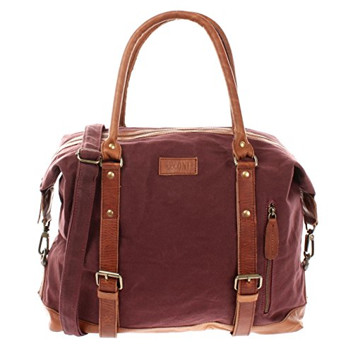 LECONI XL Shopper für Damen & Herren Unisex Handgepäck Vintage-Style kleiner Weekender Sporttasche Used-Look Fitnesstasche aus Canvas + Leder 50x38x12cm bordeaux LE2006-C