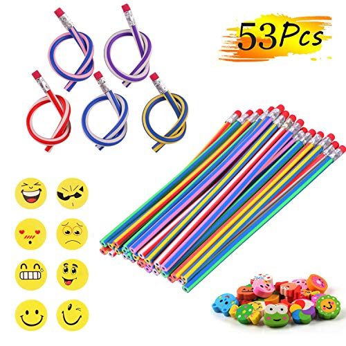 53 Stück Party Bags Filler, 25 Biegsam Flexible Magische Bleistifte, 20 Smiley Tier Radiergummis Rubber Radierer, 8 Smiley Radiergummis Geschenke Kinder