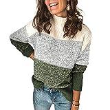 Sudadera de manga larga para mujer, estilo informal, cuello de tortuga, cuello de tortuga, estilo informal, suave y cálido verde M