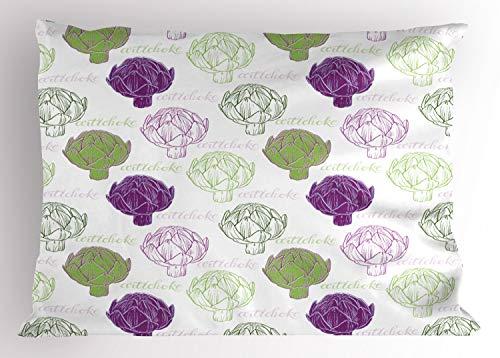 ABAKUHAUS Artisjok Siersloop voor kussen, Sketch stijl Eten, standaard maat bedrukte kussensloop, 75 x 50 cm, Lime Green en Paars
