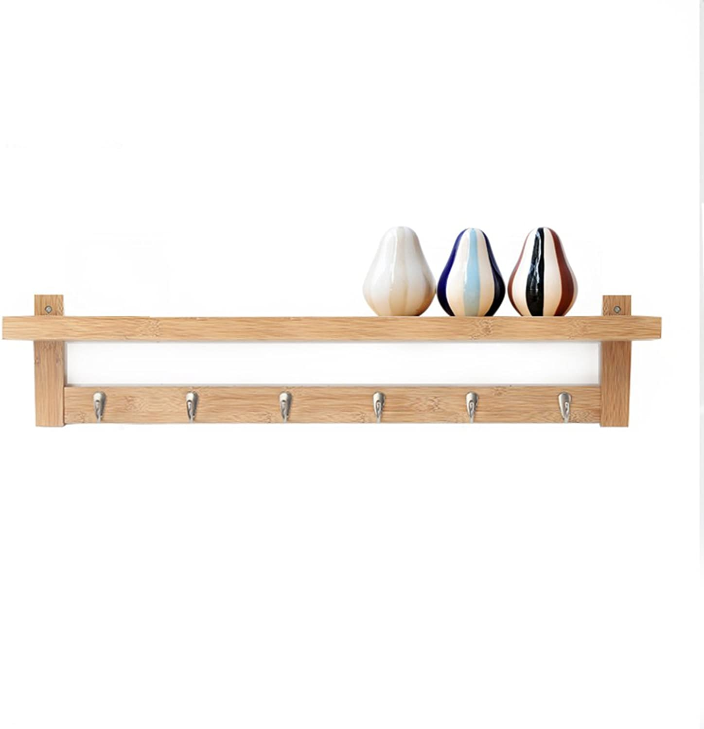 JIANFEI Wall Mounted Coat Rack top L-Type Baffle Hook up Shelf, Bamboo (color   Primary color, Size   87  12  18cm)