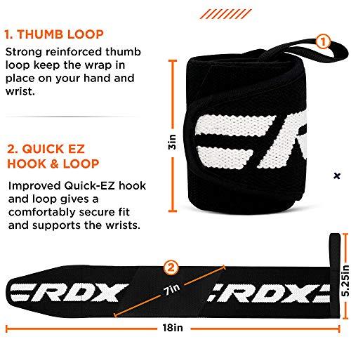 Authentische RDX Handgelenk Gewichtheben Training Gym Griff Handschuhe Body Building B D - 4