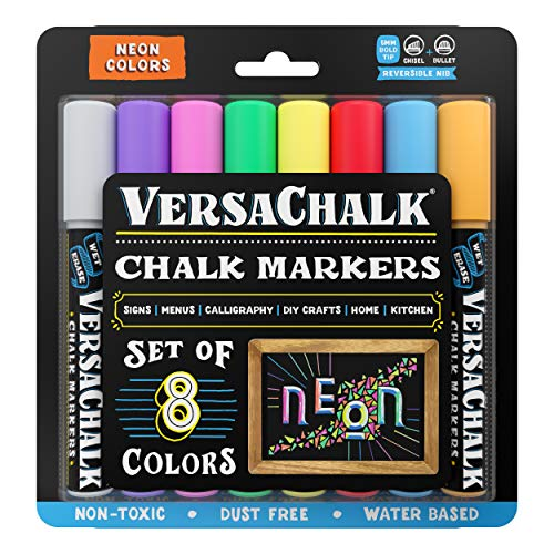 Neon Liquid Chalk Markers for Blackboards by VersaChalk (8 Chalkboard Markers, 5mm Bold Tip) - Washable Erasable Chalk Pens for Windows, Glass, Bistro, Menu Signs, Chalk labels, Stickers