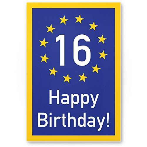 Bedankt! 16 jaar Happy Birthday - plastic bord, cadeau 16e verjaardag, cadeau-idee verjaardagscadeau zestientjes, verjaardagsdeco/partyaccessoires/verjaardagskaart