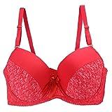 Erotic underwearZY Sportunterwäsche Sport-BHS Damen Große Hochwertige Blumen Tief V Sexy Unterwäsche BH Rot_46 / 105Dd_48 / 110Dd_50 / 115Dd