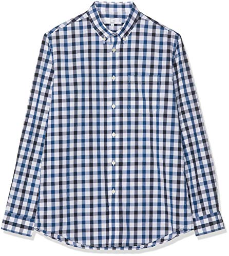 mächtig der welt Amazon Marke: MERAKI Herren Langarm Baumwollhemd, Blau (Blue Combo), Größe XL, Tag: XL
