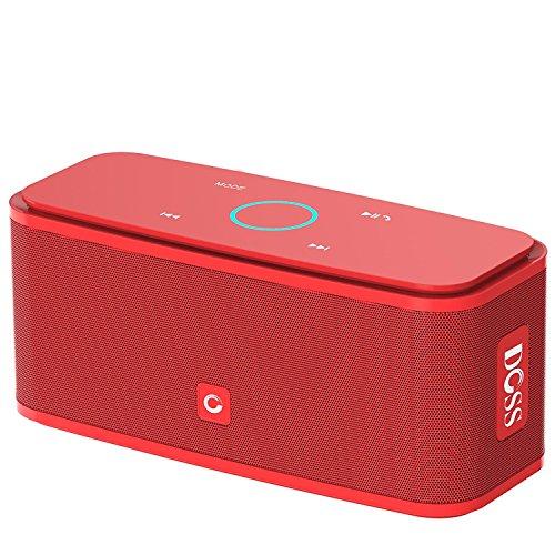 Cassa Altoparlante Bluetooth portatile Soundbox DOSS,Pulsanti Touch, Suono Stereo, Microfono Integrato, Slot per Scheda TF, AUX-IN, 12 ore di Autonomia, Compatibile con iPhone, Android, PC (Rosso)