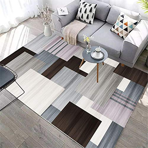 ZHAOPAI house accessories living room Light gray carpet geometric large grid carpet breathable crawling mat carpetcarpets for living room -light grey_200x300cm