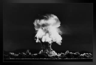 Poster Foundry Nuclear Bomb Explosion Nevada Test July 1957 Photo Photograph Black Wood Eco Framed Print 13x9