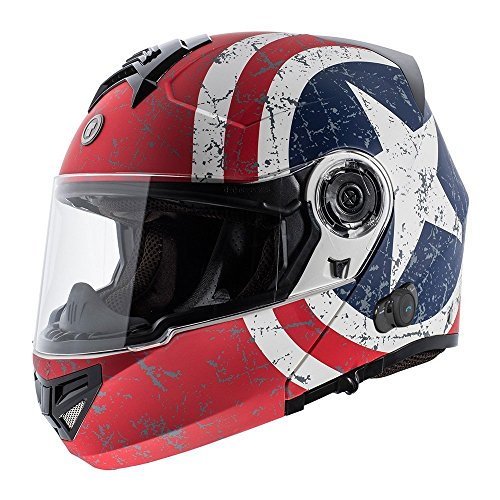 TORC - T27B1 FWT RS XL T27B Full Face Modular Helmet with Blinc Bluetooth (Rebel Star, Large)