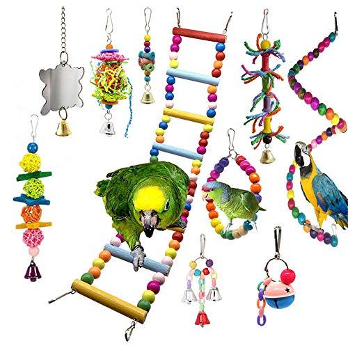 10 Stück Papageien-Käfig Spielzeug Vögel Hängende Schaukel / Sitzstangen / Kletterleiter / Spiegel / Glocken / Kauspielzeug für Wellensittiche / kleine Papageien / Sittiche / Nymphensittiche / Aras