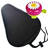 Hoobbii Bike Accessories for Kids, Child Bike Gel Seat Cushion Kids Bike Bells and Kids Bike Streamers, Suitable for Children's Bicycles up to 16 inches(Black)