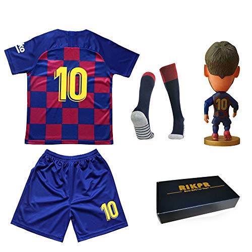 Kids Soccer Jersey Youth with Name Football Shirt with Dolls and Socks Birthday Gifts Boys
