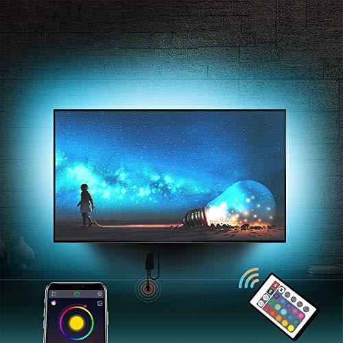 Led TV Hintergrundbeleuchtung für 56''-75'' Fernseher mit Fernbedienung TV-Hintergrundbeleuchtung Farbwechsel RGB LED-Lichtband USB-betrieben (APP Control+ Remote) (4m/13.2Ft + 1m/3.2Ft Eckenkabel)