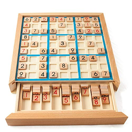 Hankyky Holz Sudoku Brettspiel mit Schublade, Adult Logisches Denken, Jiugongge Sudoku Puzzle Spiel, Kinder früh Bildung, Brettspiel Spielzeug Mathe Gehirn Teaser Desktop