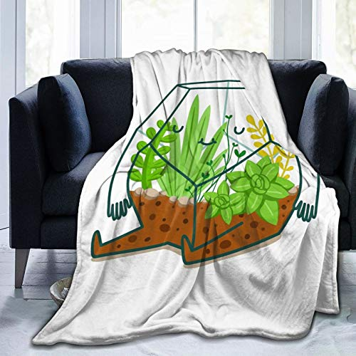 Terrarium Variety Face Towel Fleece Throw Blanket £¬Fuzzy Warm Throws for Winter Bedding, Couch and Plush House Soft Warming Decor Idea (S 50