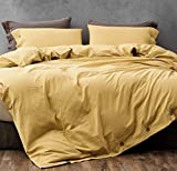 Melingo Mustard Yellow Cotton Duvet Cover Queen Size with Stones Washed Tech, 3 Piece Set Linen Textured Soft Bedding Collection with Buttons Closure. Solid Color (1 Duvet Cover + 2 Pillow Cases)