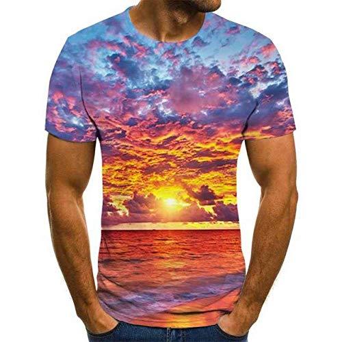3D Impreso Camisetas,Novedad Streetwear The Sea Under The Sunset RojoImpreso Unisex Camiseta Transpirable De Secado Rápido Casual Cómodo Cuello Redondo Blusa De Manga Corta Para Hombres Mujeres