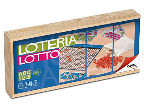 Cayro -Lotto/Tómbola 48 Cartones en Caja de Madera - Juego de Mesa...