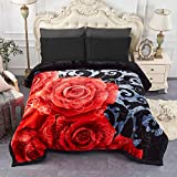 JML Heavy Fleece Blanket King Size 85'x 95', Plush Velvet Korean Style Mink Blanket, Two Ply Reversible Raschel Blanket - Silky Soft Wrinkle and Fade Resistant Thick Bed Warm Blanket, Black Floral