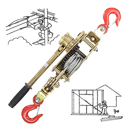 ZPCSAWA Polipasto Manual de Tracción Cabrestante, Multifunción Trinquete Cabestrante Manual de Palanca con 1.5m Cables y 2 Gancho, Diseño Anti-Retroceso, Tracción: 2/3/4 Tonelada (Size : 3T)