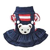 Disfraz de perro, New Bear Rayed Denim Falda Babero Pet Ropa for otoño e invierno, Dog Sudaderas con capucha Ropa, Pascua...