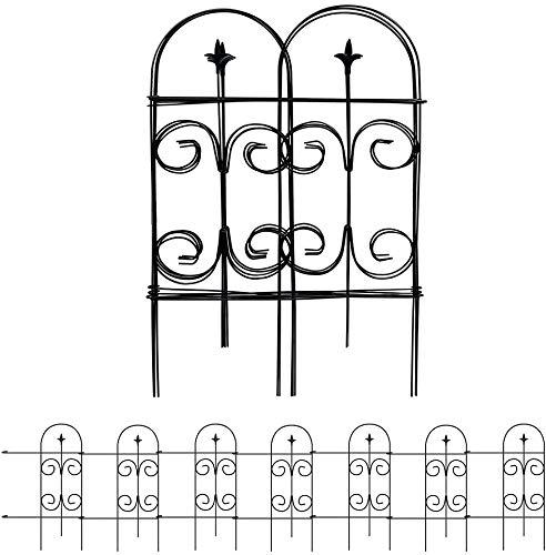 Amagabeli 81CM X 51CM Jardín de Hierro - Set de 7 - Valla Decorativa Hierro para Jardín Metalicas Negro