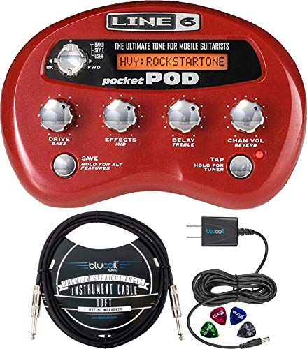 Line 6 Pocket POD Multi-Effects Processor with Belt Clip Bundle with Blucoi Bundle with Blucoil Slim 9V 670ma Power Supply AC Adapter, 10-FT Mono Instrument Cable, and 4-Pack of Celluloid Guitar Picks