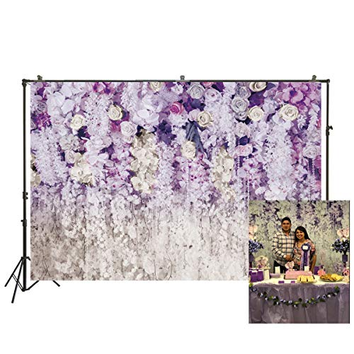 2.2x1.5m Photography Backdrops Purple Flowers Curtain Wedding Backdrop Bridal Shower Spiral Decorations Floral 3D Backdrop Table Dessert Decor Photoshooting Background XT-6708