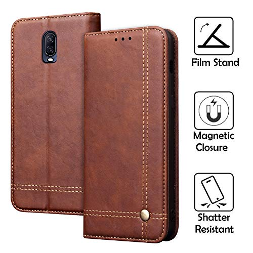 REAL-EAGLE OnePlus 6T Case, Oneplus 6T Wallet Case,OnePlus 6T Premium PU Leather Wallet Protection Case with [Kickstand] [Card Slots] [Magnetic Closure] for OnePlus 6T 2018 (Brown 6T)