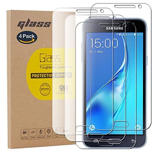 pinlu [4 Pack Protector de Pantalla de Cristal para Samsung Galaxy J3 2016 J310 / J3 2015 Protector Cristal Vidrio Templado [9H/2.5D/0.26mm, 99% TransPrincipale]