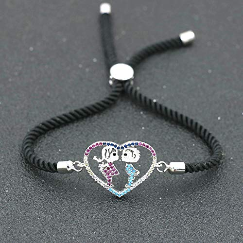 ANGYANG Woven Bracelet,Black Rope With Silvery Heart Boy Girl Inlay Zircon Braided Adjustable Charm Bracelets Romantic Jewelry Couples Gift For Women Girl Family